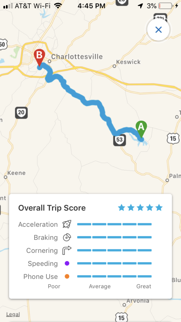 Drive Safe and Save app screenshot showing 5-star rating.